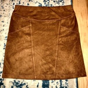 Brown Express Suede Mini Skirt